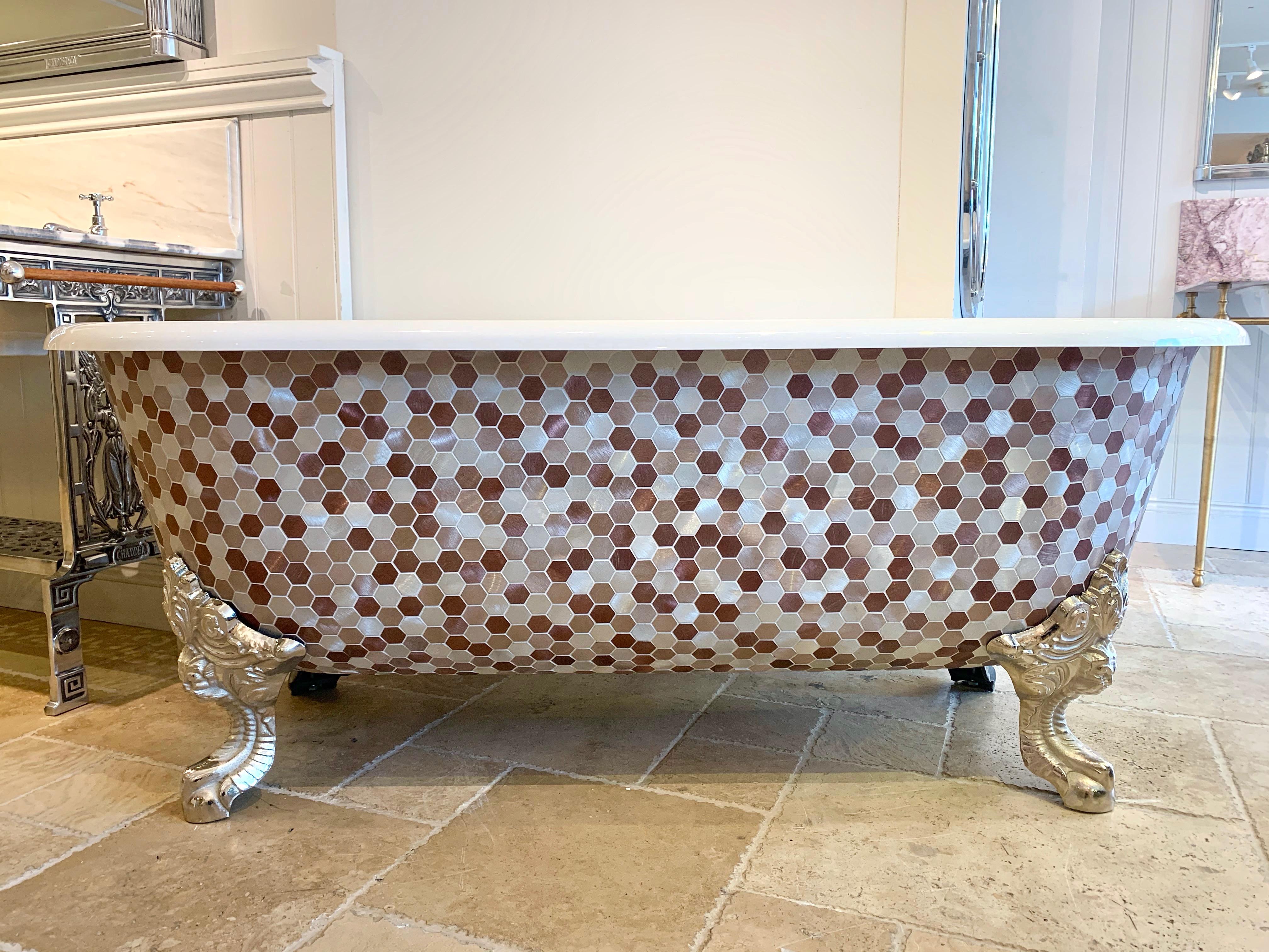 free standing bath metal mosaic tub