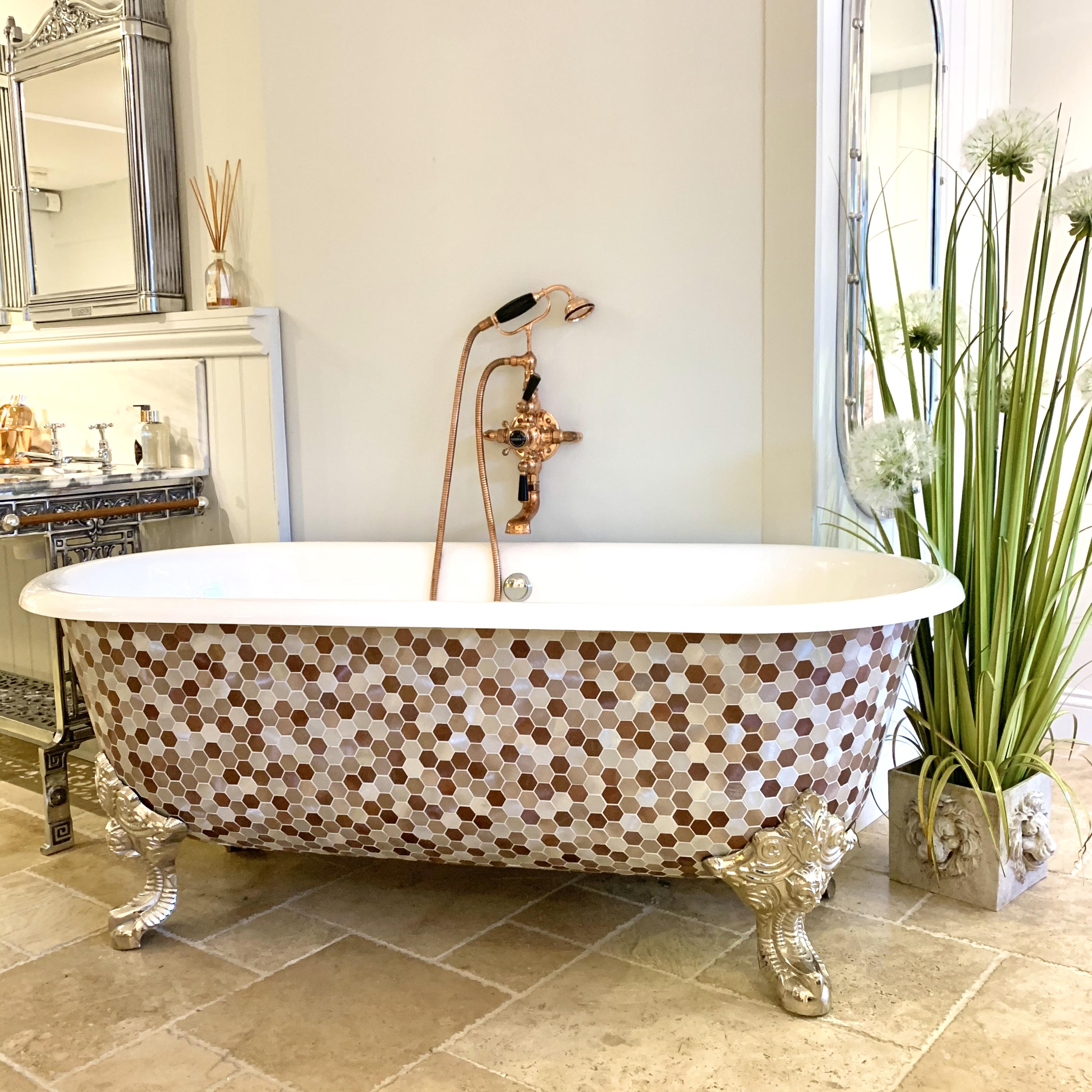 freestanding victorian bath tub mosaic bath luxury bathroom