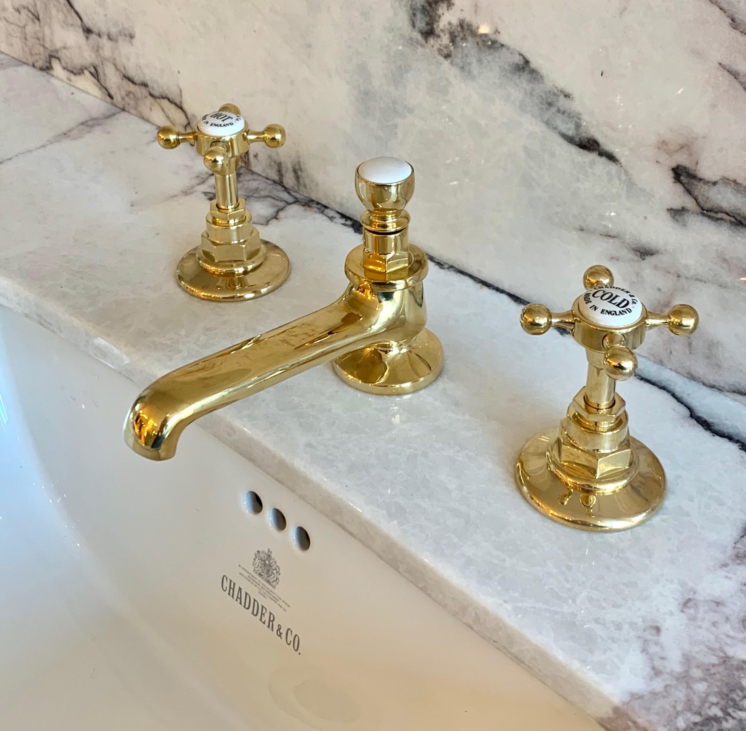three hole basin tap polished brass finish