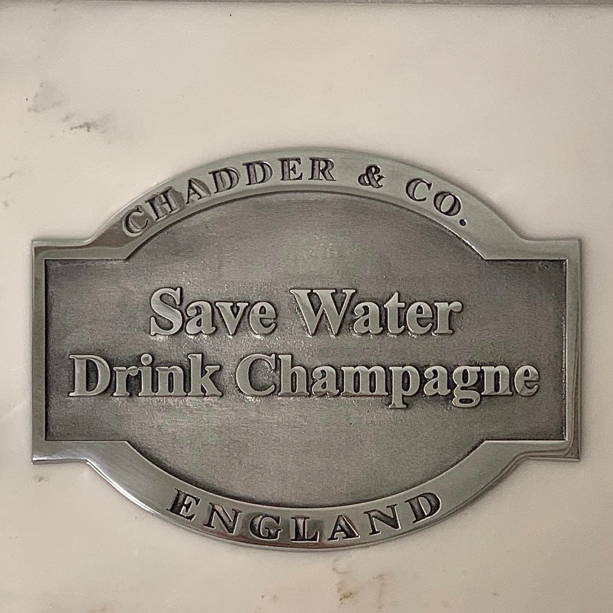 save water drink champagne bespoke metal plaque plate