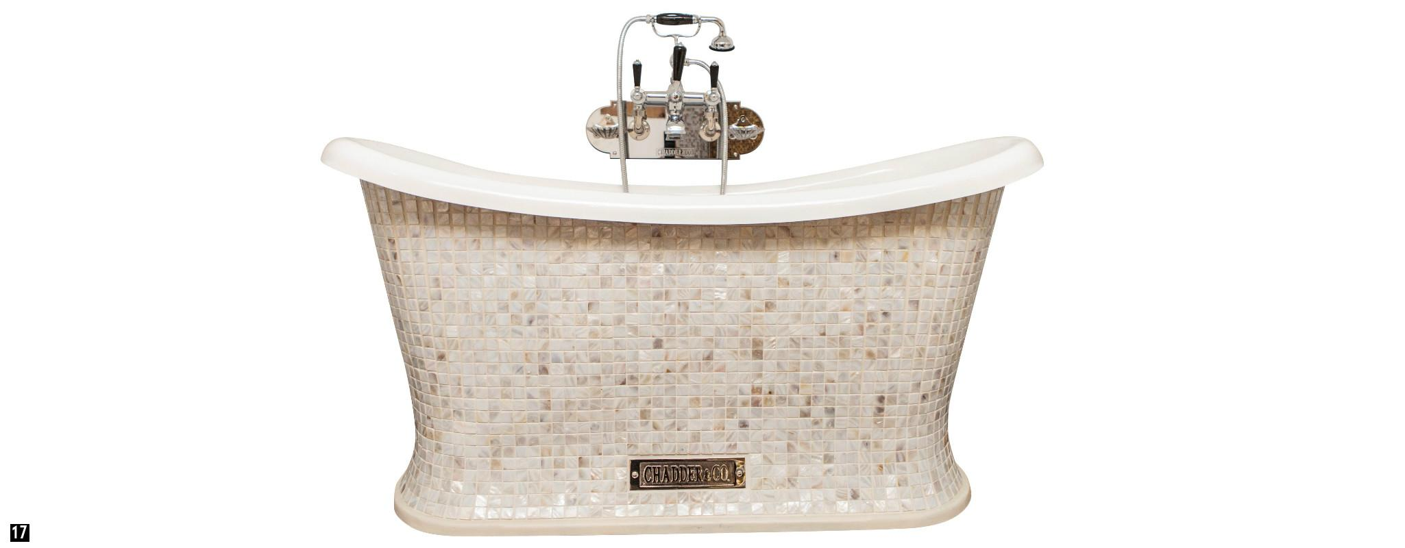 Mosaic Bath with Chadder Mosaics ,  Mother of Pearl Mosaic Bath , Bespoke Mosaic Bath