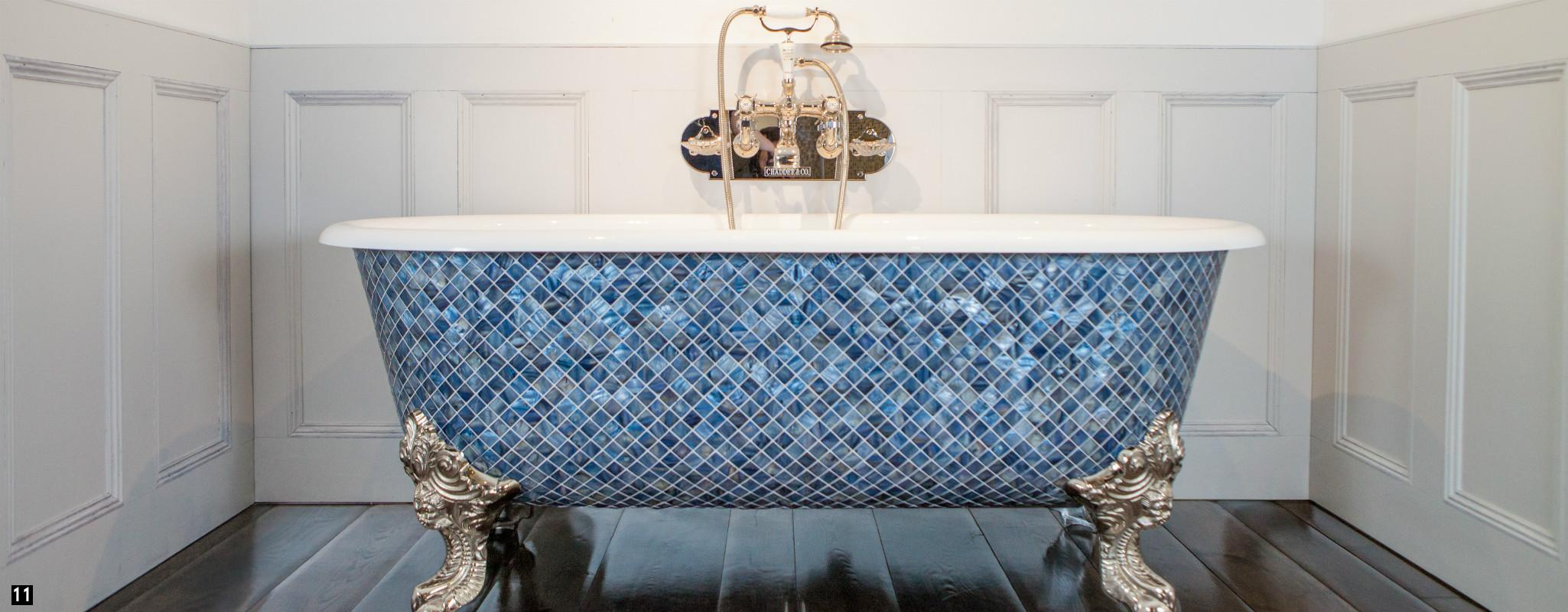 Mosaic Bath with Chadder Mosaics , Nickel Bath Filler ,  Mother of Pearl Mosaic Bath , Bespoke Bath