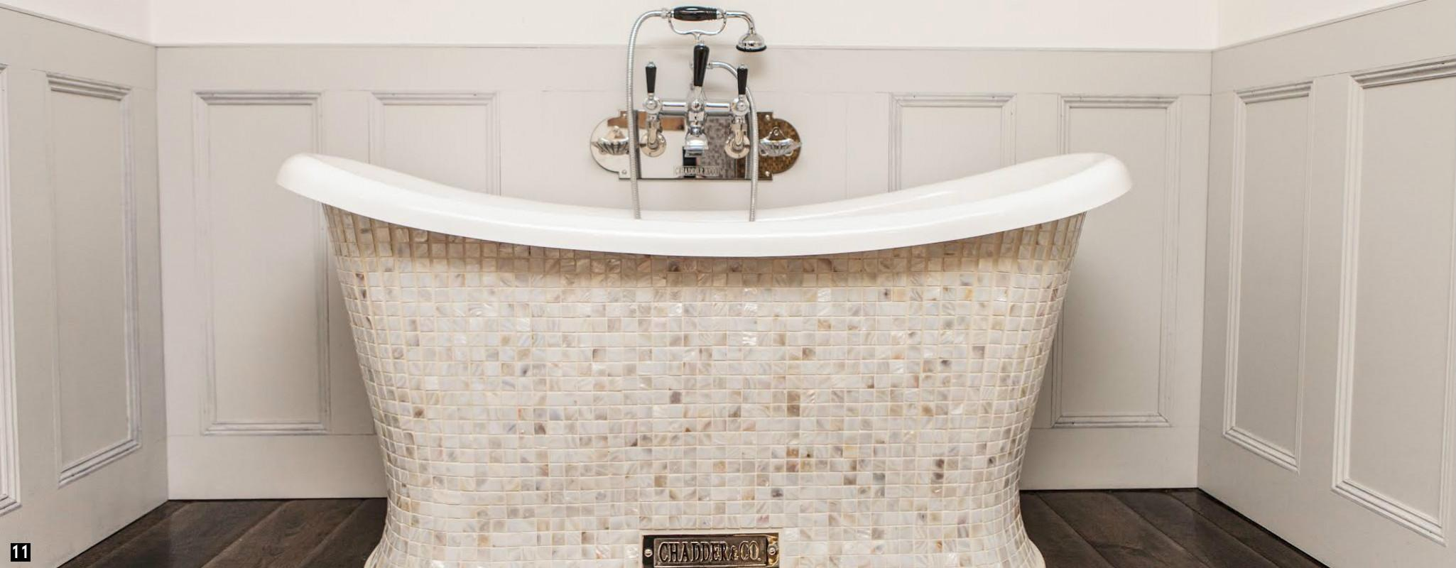 Mosaic Baths, Mosaic Bath , Vintage Nickel Taps and Fittings, Mosaic Roll Top Bath