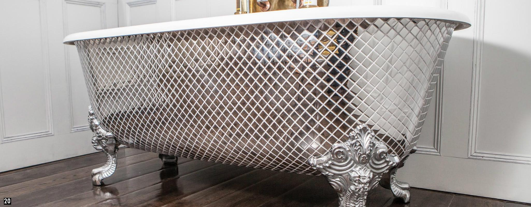 Mosaic Bath Tub, Silver Mosaic Roll Top Bath , Vintage Mosaic Tub