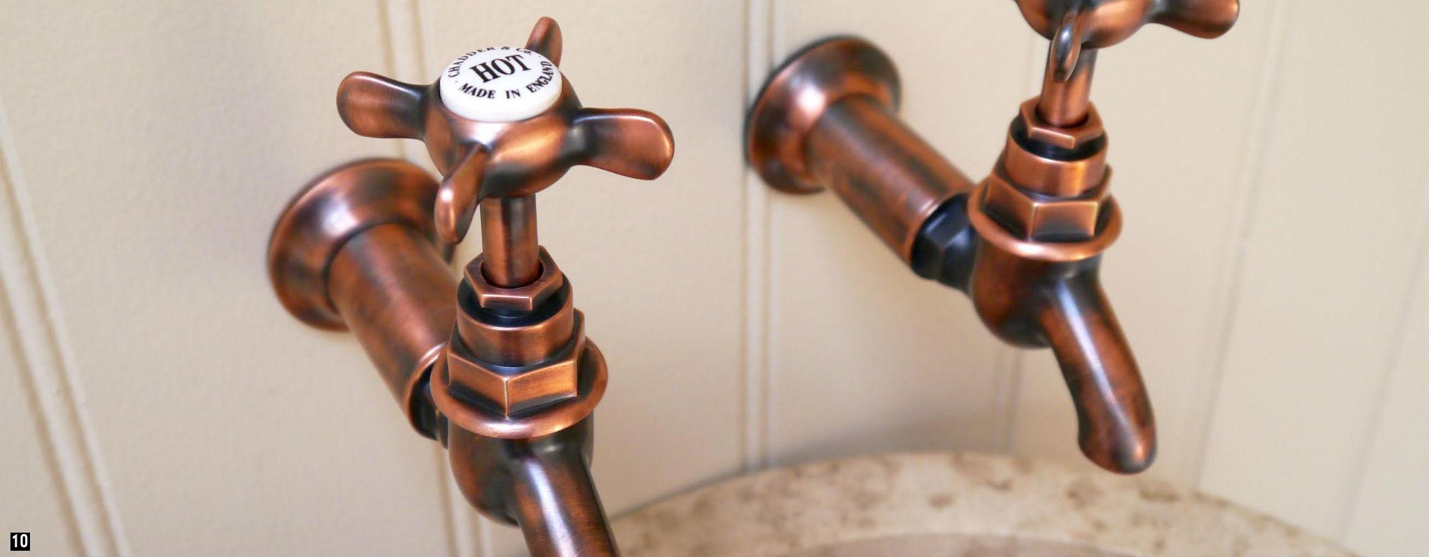 Weathered Copper Bib Taps , Copper Kitchen Taps , Bib Taps