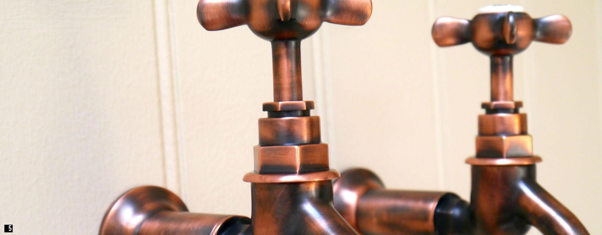 Weathered Copper Bib Taps , Copper Kitchen Taps , Bib Taps, Chadder